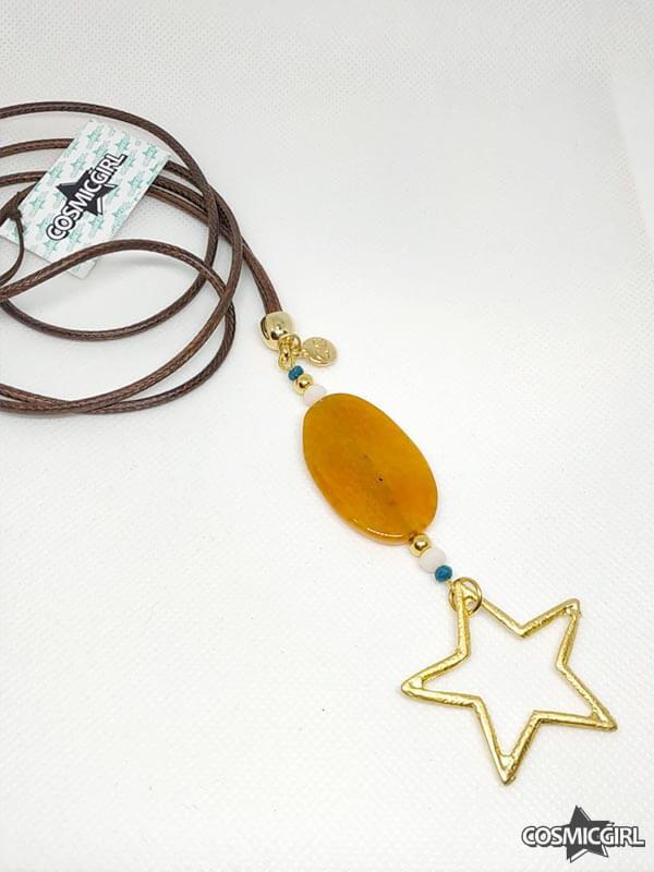 Collar Agaes bisutería artesanal ágata naranja